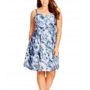 City Chic Blue Bloom Floral Fit Flare Dress XL 22